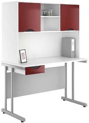 UCLIC Single Drawer Desk With Overhead Cupboards And Drawer Front In High Gloss Burgundy