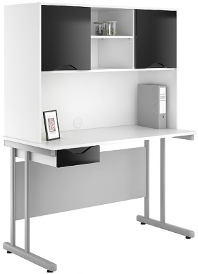 UCLIC Single Draewr Desk And Overhead Cupboard With Drawer Front And Doors In High Gloss Black