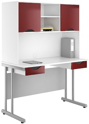 UCLIC Create Desks With Two Drawers And Overhead Cupboard In Gloss Birgundy