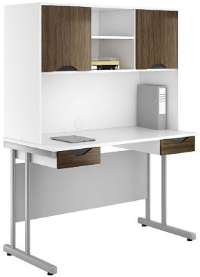 UCLIC Create Double Drawer Desk And Overhead Storage In Dark Olive
