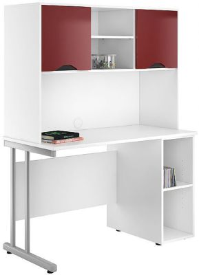 UCLIC Pedestal Create Desk With Burgundy High Gloss Doors