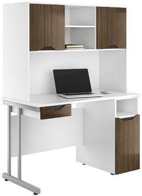 UCLIC Create Desk In Dark Oliver With Drawer Front And Doors In Dark Olive