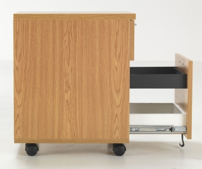 Flite Two Drawer Mobil Pedestal In Oak Side View With Open Filing Drawer