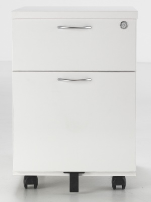 Flite Two Drawer Pedestal In White Front Shot