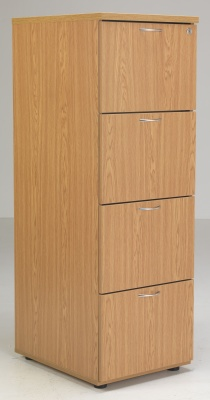 Flite Four Drawer Filing Cabinet In Oak Angle Shot