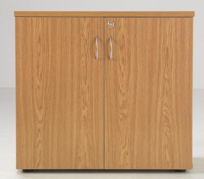 Flite Low Double Door Cdupboard In Oak Front View