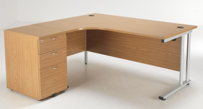 Flite Left Hand Desk And Pedestal In Oak