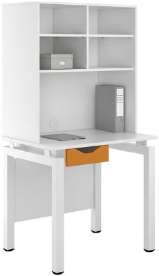 UCLIC Engage Desk With An Orange Drawer And Overhead Storage