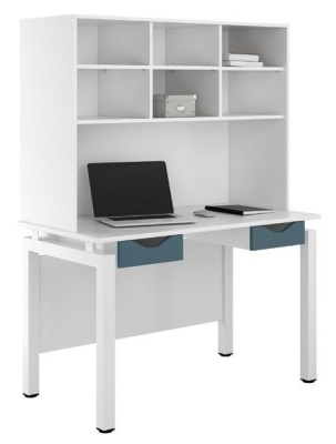 UCLIC Engage Desk With Two Drawers And Overhead Storage