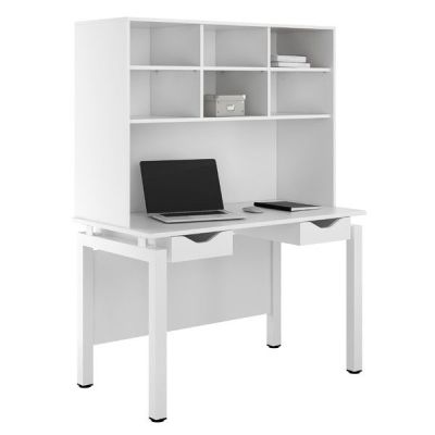 UCLIC Engage Desk With Two White Darwers And Overhead Storage
