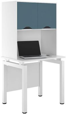 UCLIC Engage Desk With Overhead Storage With Steel Blue Doors
