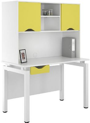 UCLIC Engage Bench Desk With Single Darwer In And Overhaed Cupboard With Yellow Doors