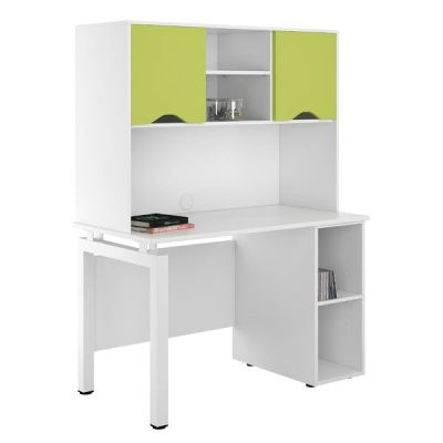 UCLIC Engage Peddestal Desk With Overhead Cupboards With Lime Green Doors