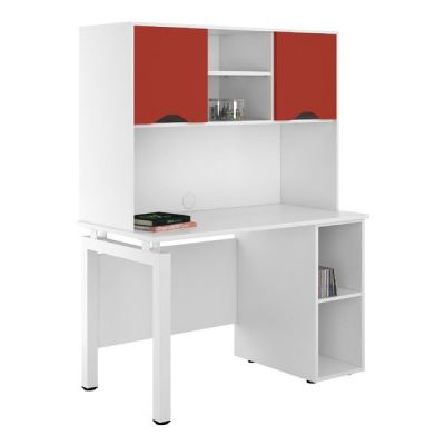 UCLIC Engage Pedestal Desk With Overhead Cupboard Doors In Red