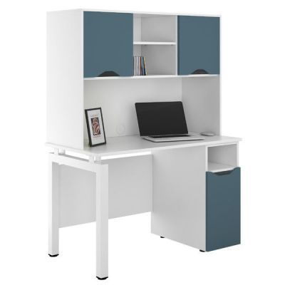UCLIC Engage Desk With Desk Cupboard And Overhead Cupboard With Doors In Steel Blue