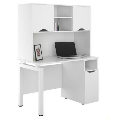 UCLIC Engage Desk With Doors In White And Overhead Storage