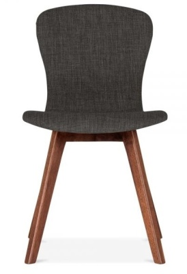 Detroit Dining Chair Dark Grey Fabric Front View