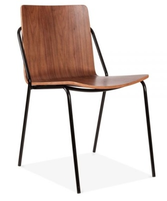 Denver Dining Chair Walnut Shell And Black Frame Front Angle Shotr