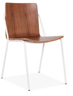 Denver Chair Walnut Shell And White Frame Front Angle