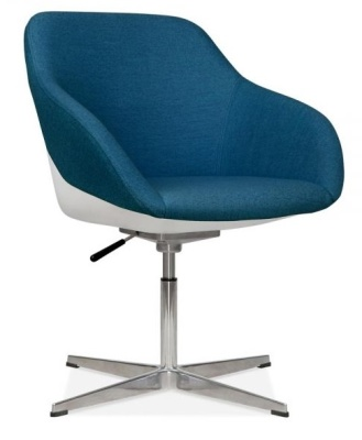 Mexico Lounge Chair Blue Fabric Front Angle