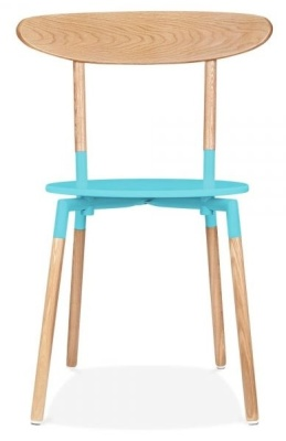 Odense Dining Chair Light Blue Seat Front View