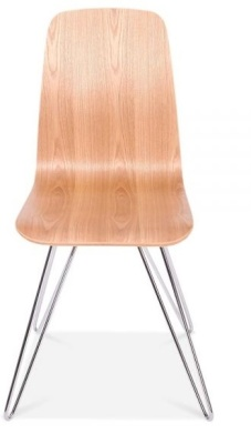 Bennie Chair With A Natural Shell And Hairpin Legs Front View