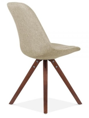 Pyramid Chair In Beige Fabrioc With Walnut Legs Rear Angle View