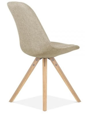 Pyramid Chair In Beige Fabric With Natural Legs Rear Angle View