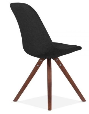 Pyramid Chair In Black Fabric And Walnut Legs Rear Angle