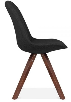 Pyramid Chair Black Fabric And Walnut Legs Side View