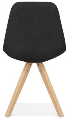 Pyramid Chair Black Fabric With Natural Legs Rear View