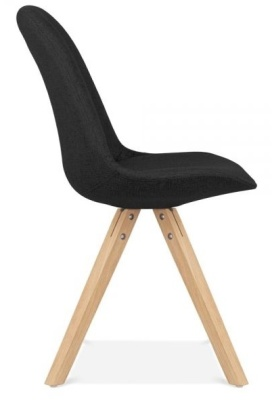 Pyramid Chair Black Fabric With Natural Legs Side View