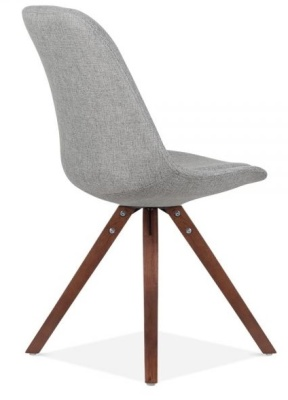 Pyramid Chair Grey Fabric And Walnut Legs Rear Angle View