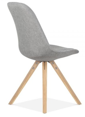 Pyramid Chair In Grey Fabric With Natural Legs Rear Angle View