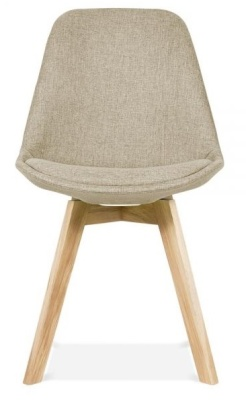 Crosstown Upholstered Chair Beige Fabric Front View