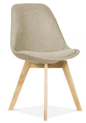 Crosstwon Upholstered Dining Chair With Beige Fabric Front Anhle