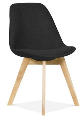 Crosstown Dining Chair With Black Fabric Front Angle Shot