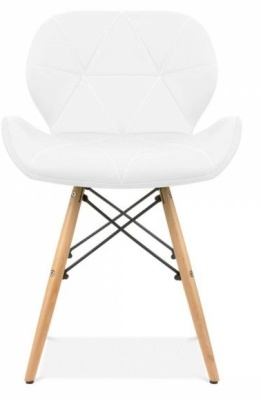 Chaz Dining Chair In White Front View