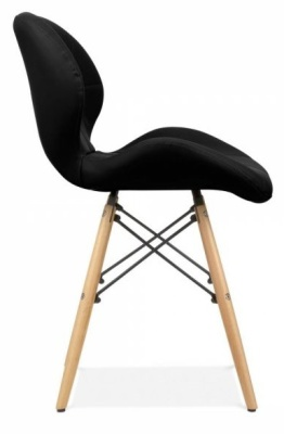 Chaz Designer Dining Chair In Black Side View