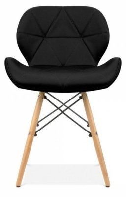 Chaz Designer Dining Chair In Black Front View
