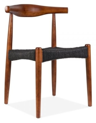 Elbow Chair With Black Weave Seat Front Angle