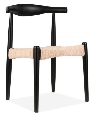 Elbow Chair In Black With A Natural Cord Seat Front Angle