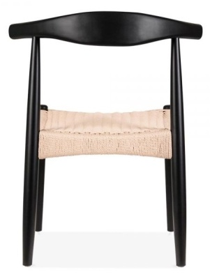 Elbow Chair With A Natural Cord Seat Rear View