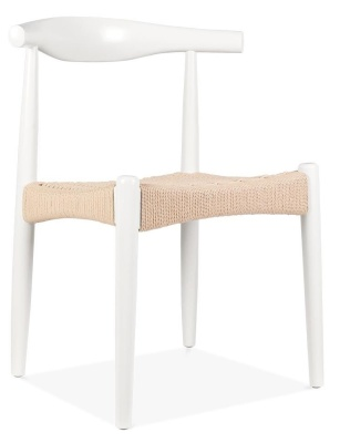 Elbow Chair With A White Frame And Natural Cord Seat Front Angle