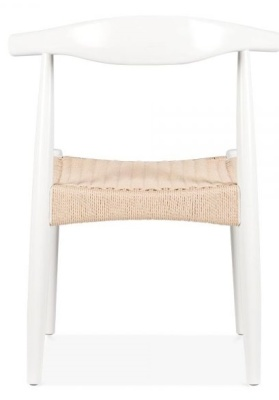 Elbow Chair With A White Frame And Natural Cord Seat Rear View