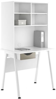 Uclic Aspire Single Drawer Desk And Overhead Storage With A
