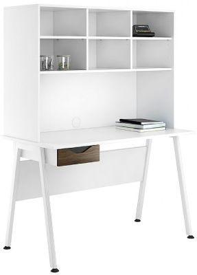 Aspire Reflections Desk With Overhead Storage And A Dark Olive Drawer Cfront 2