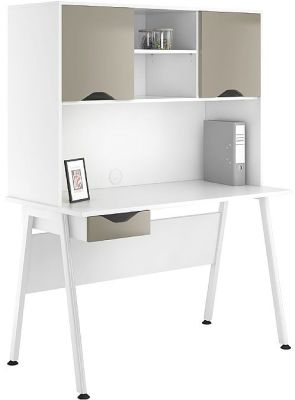 Aspire Reflections Single Darwer Desk And Cupboard Stone Finish Doors