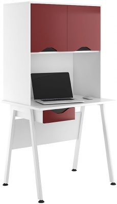 Aspire Reflections Darwer Desk And Overhead Cupboard With Gloss Burgundy Doors