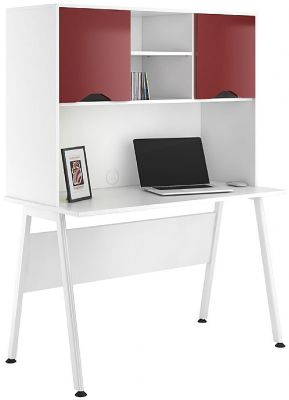 Aspire Reflections Desk And Overhead Cupboard With Burgundy Doors